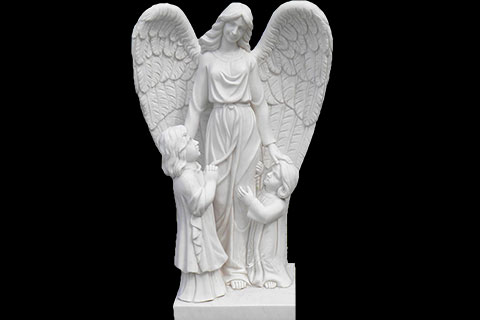 Hand Carved White Stone Angels Marble Statues