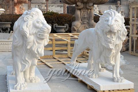 Hand carved garden white marble lion sculptures