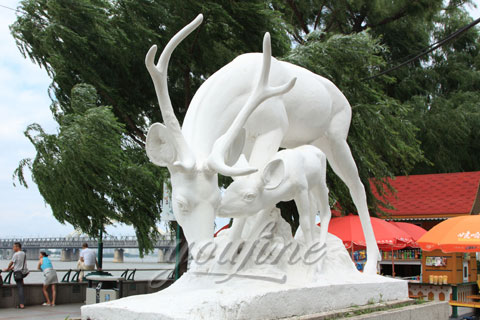 Hot sale outdoor life size marble stone deer