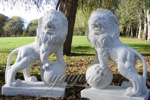 Life size Granite White Marble Lion Statues