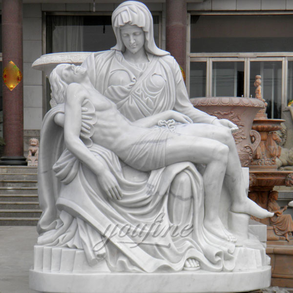 Life size religious pieta statue by Michelangelo for sale
