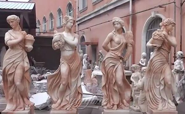 Outdoor Hand Carved Marble Four Season StatuesSculptures For Garden Decor