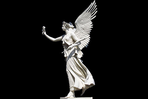 Outdoor Hand Carved White Stone Large Angel
