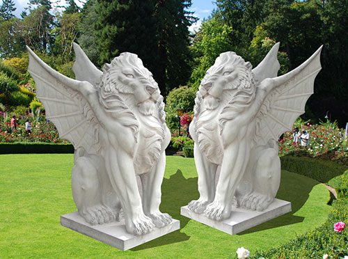 Outdoor decorative marble flying lions statues
