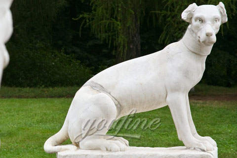Outside Hand Carved Marble Dog Welcome Statues
