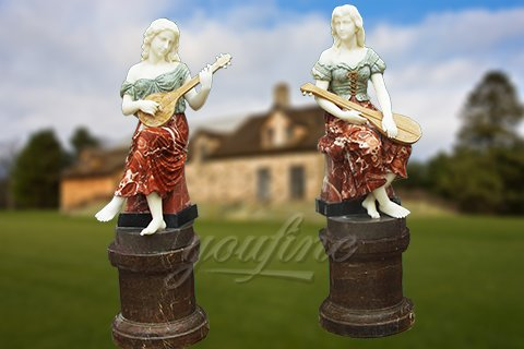Life size garden marble female sculpture with instrument for sale